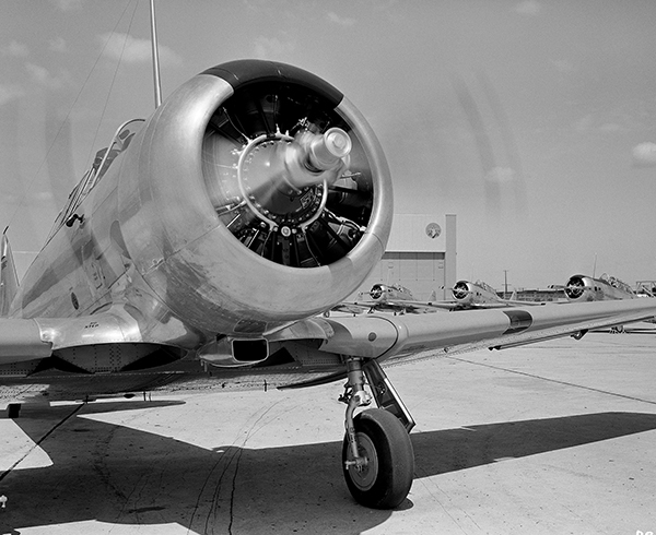 An archive photo of the the T-6 Texan, or Harvard Advanced Trainer, made by North American Aviation.